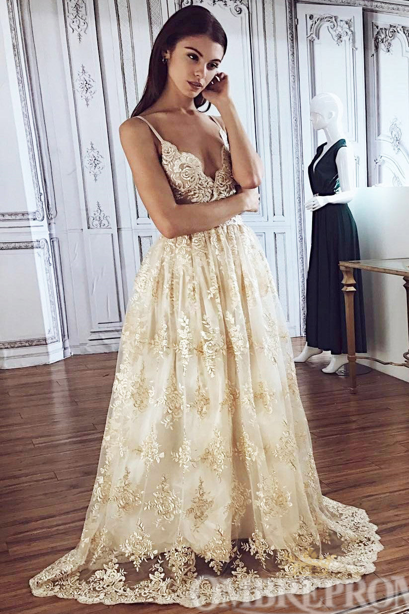 Charming Spaghetti Straps Appliques A Line Lace Wedding Dress W760