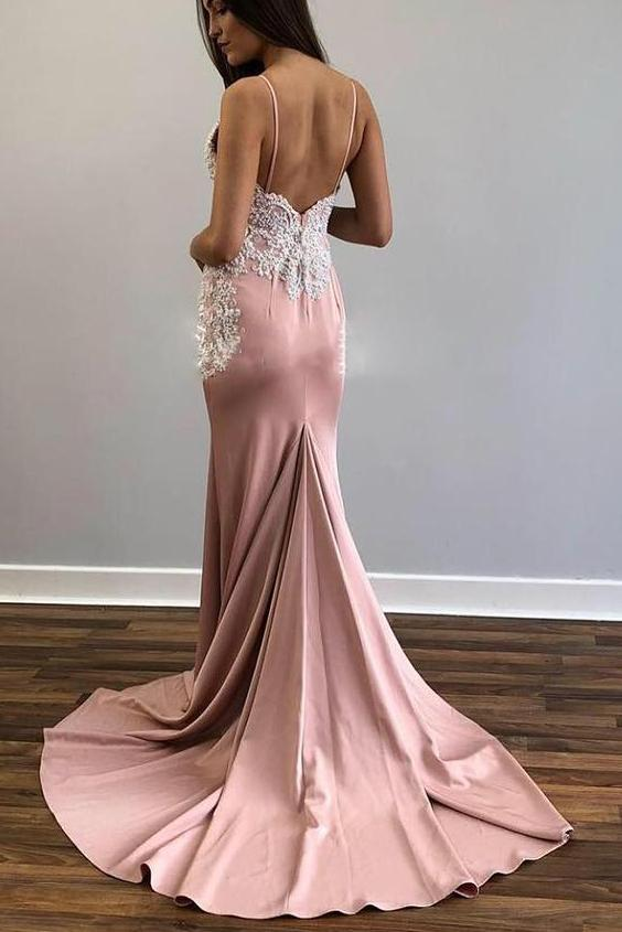 Charming Spaghetti Straps Mermaid V Neck Prom Dress D353
