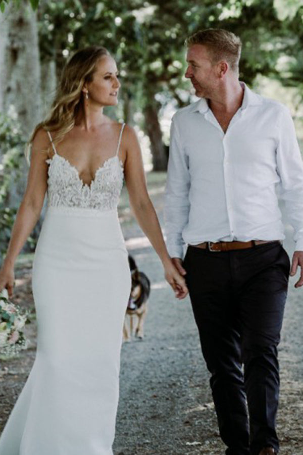 Charming Spaghetti Straps V Neck Backless Mermaid Wedding Dress W675
