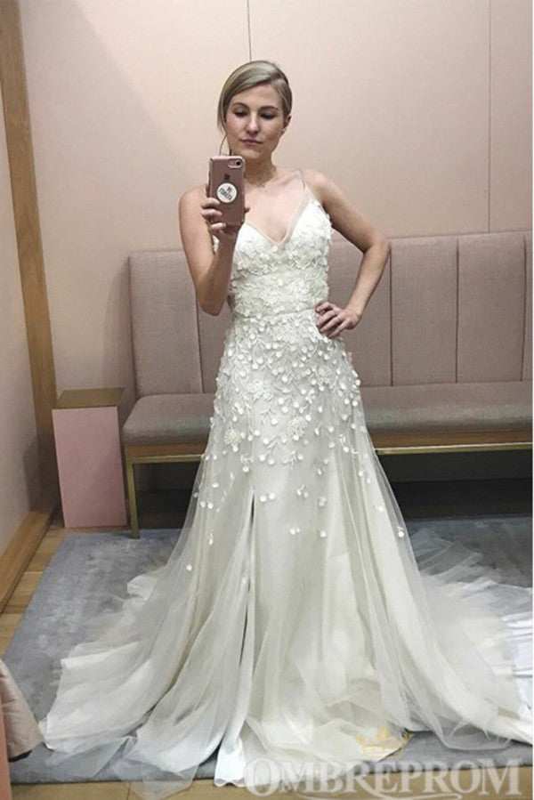 Charming Spaghetti Straps V Neck Wedding Dress W796