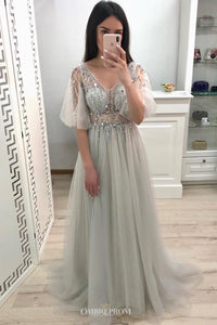 Charming Tulle V Neck Sleeveless A Line Prom Dress with Beading D191