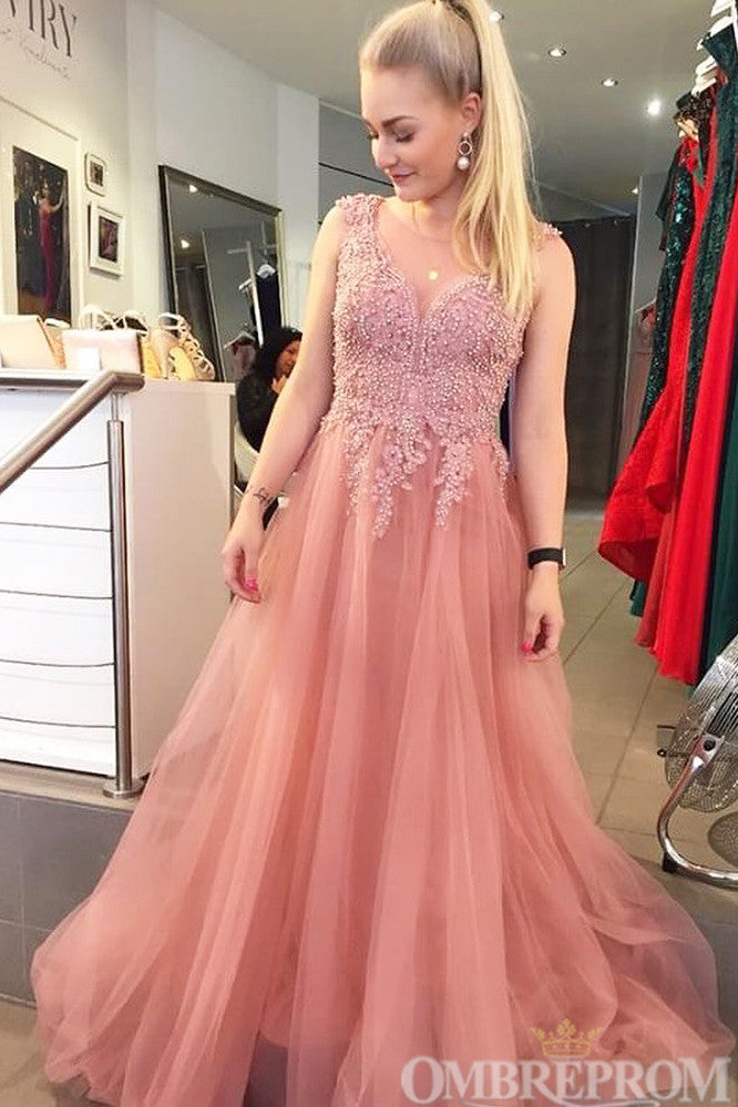 Charming V Neck A Line Top Lace Prom Dress with Beading D168