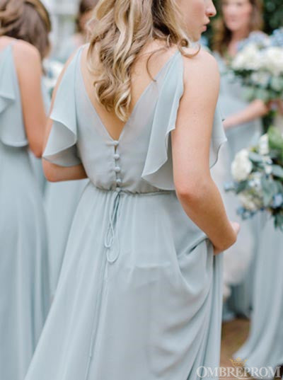 Chic Chiffon V Neck Bridesmaid Dress with Ruffles B523