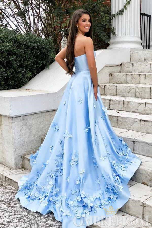 Chic Light Blue A Line Strapless Prom Dress with Appliques D234