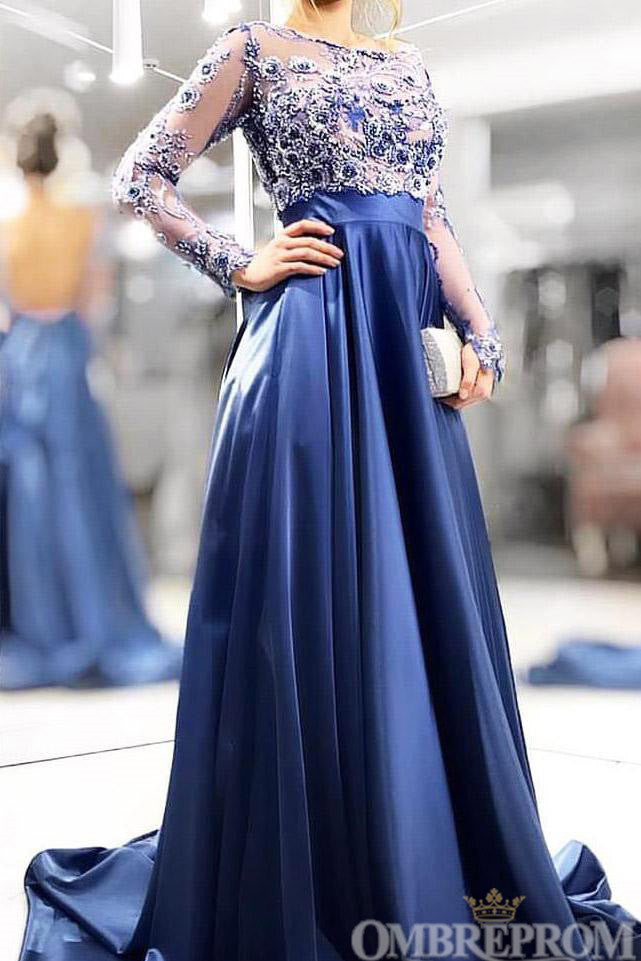 Chic Long Sleeves Round Neck A Line Prom Dress with Appliques D129