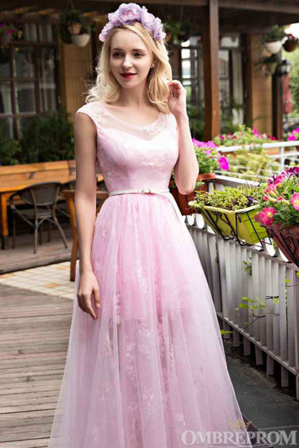 Chic Round Neck Lace Up Tulle Party Dress with Appliques Prom Dress D21