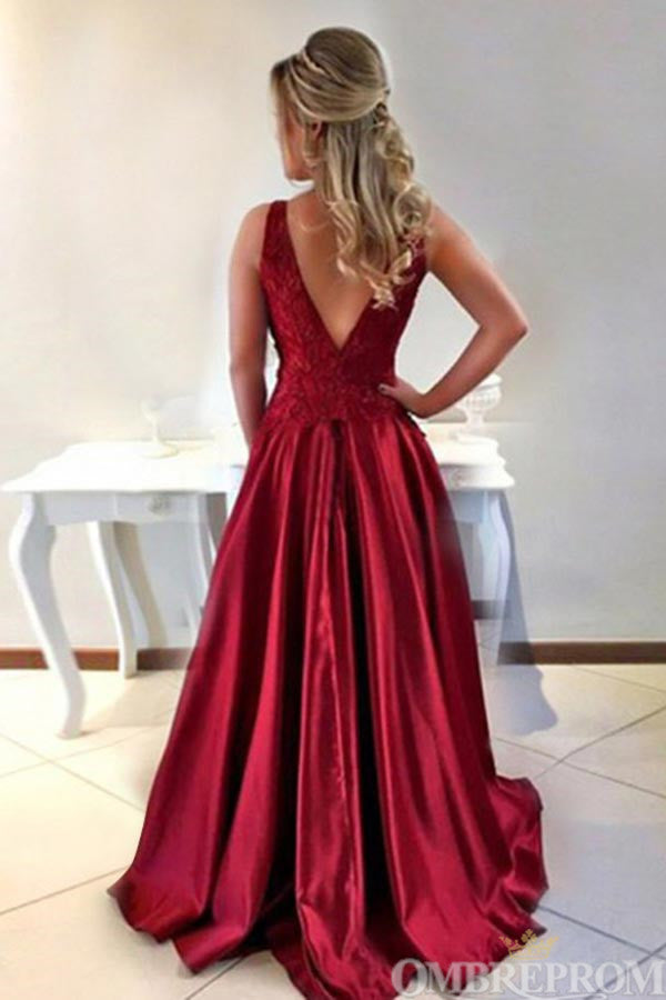 Chic Round Neck Sleeveless Satin A Line Prom Dress with Appliques D65