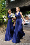 Chic Royal Blue V Neck Bridesmaid Dress with Pleats B506