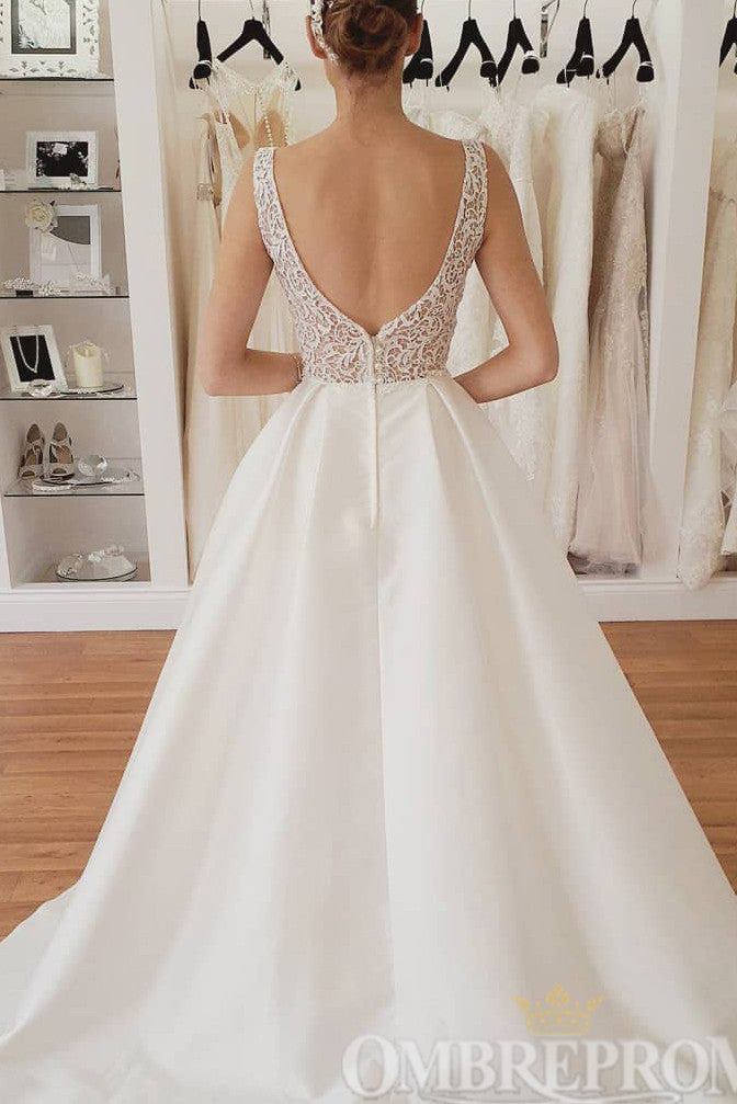 Chic Sleeveless A Line Tulle Lace Wedding Dress W759