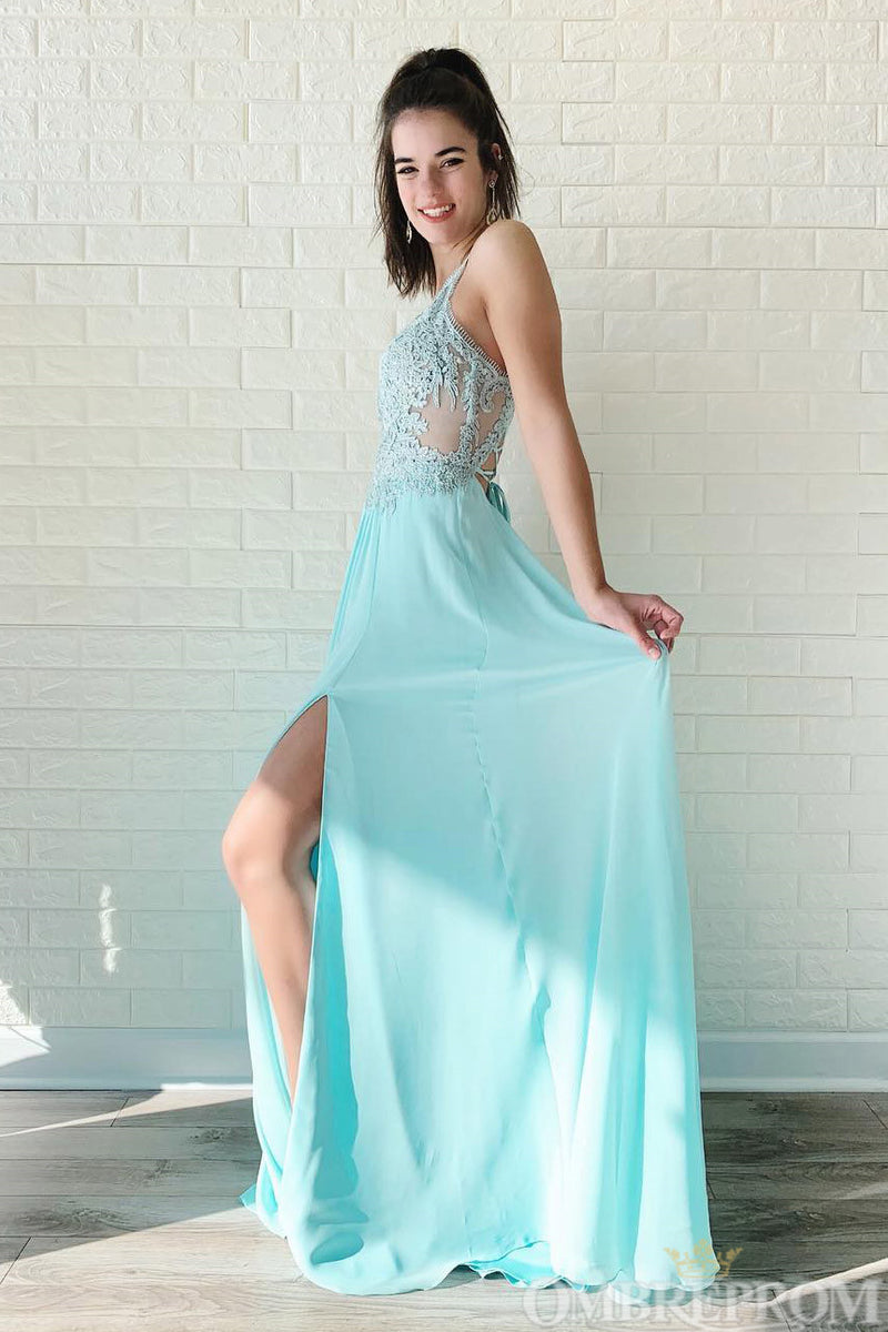 Chic Sleeveless Spaghetti Straps Prom Dress with Split Side D148