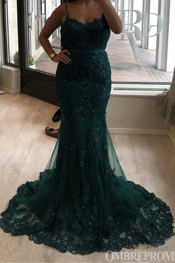 Chic Sleeveless Sweetheart Spaghetti Straps Mermaid Prom Dress with Appliques D145