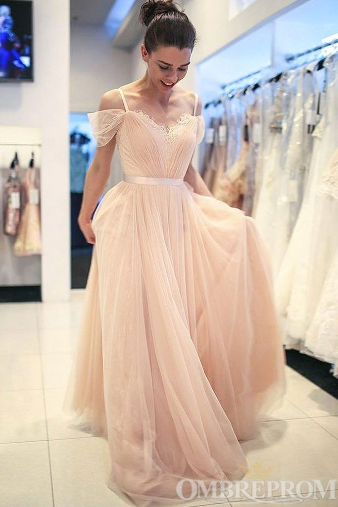 Chic Spaghetti Straps V Neck A Line Long Prom Dress D345