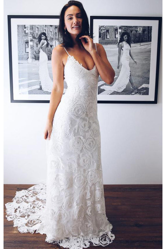 Chic Spaghetti Straps V Neck Lace Wedding Dress with Appliques W677