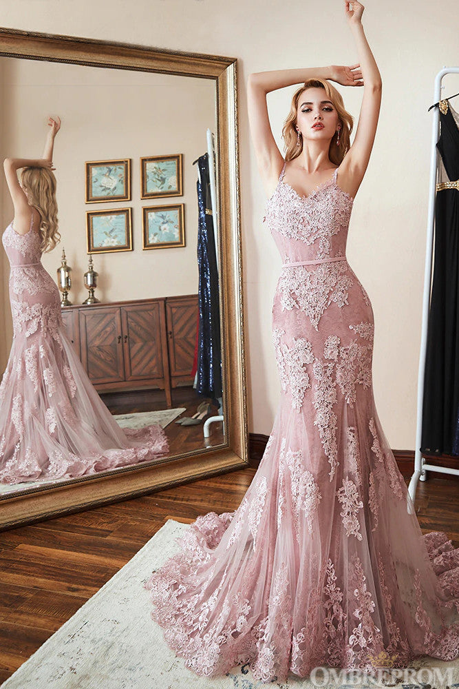 Chic Spaghetti Straps V Neck Long Lace Mermaid Prom Dress with Appliques D25