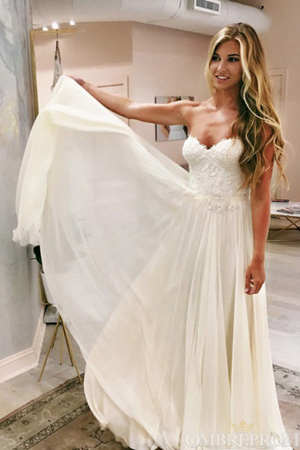 Chic Sweetheart Lace A Line Floor Length Long Wedding Dress W662