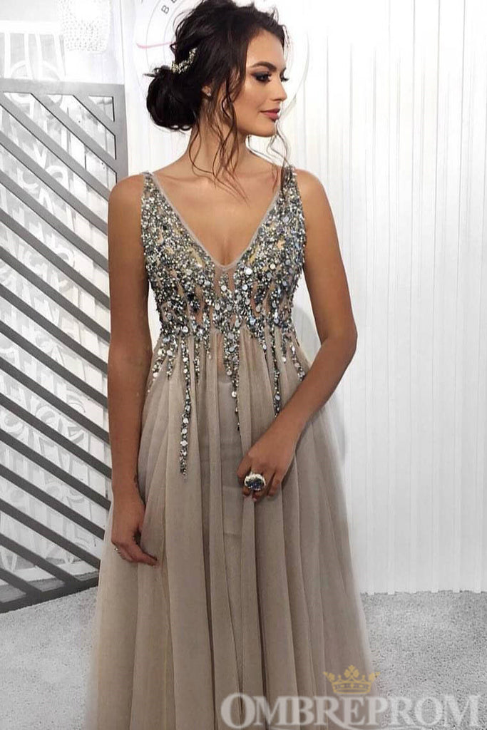 Chic V Neck A Line Split Side Prom Dress with Beading D195