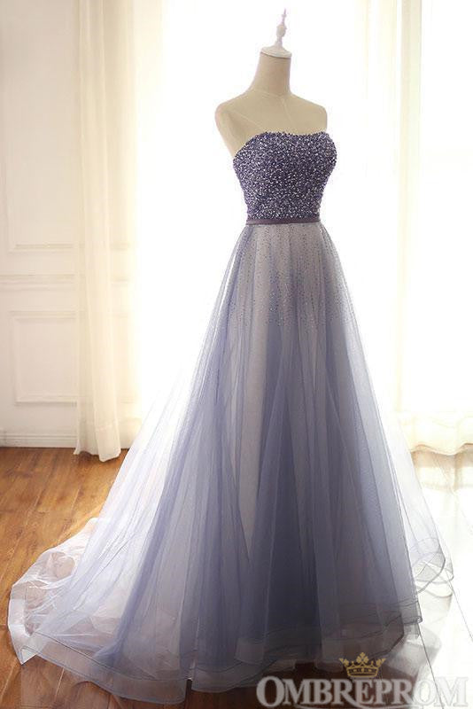 Chic V Neck Long Strapless Low Back A Line Tulle Prom Dress D163