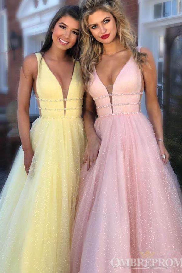 Chic V Neck Open Back A Line Prom Dresses Evening Dresses with Sequins P988