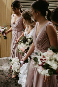 Chic V Neck Sleeveless Floor Length Bridesmaid Dress B533