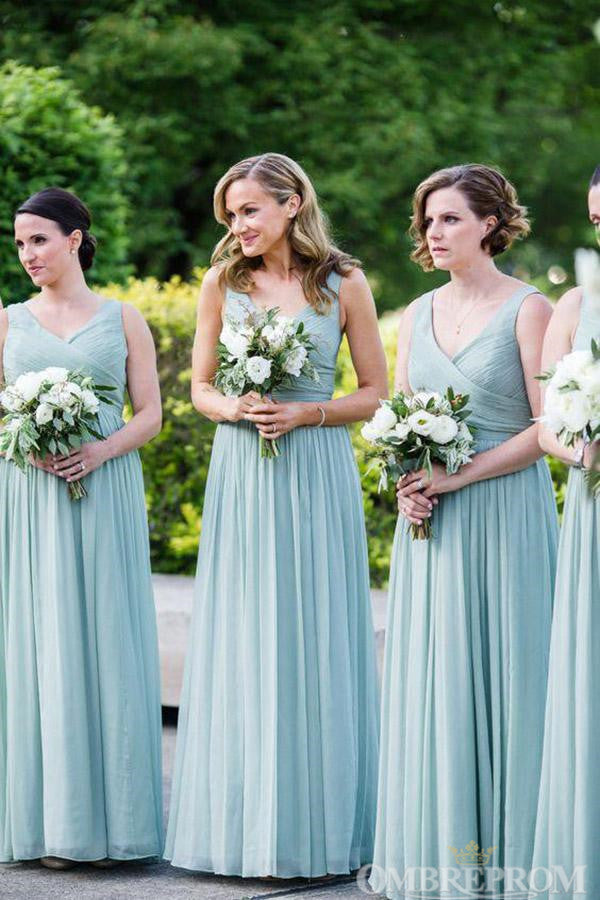 Chic V Neck Sleeveless Floor Length Chiffon Bridesmaid Dress B467