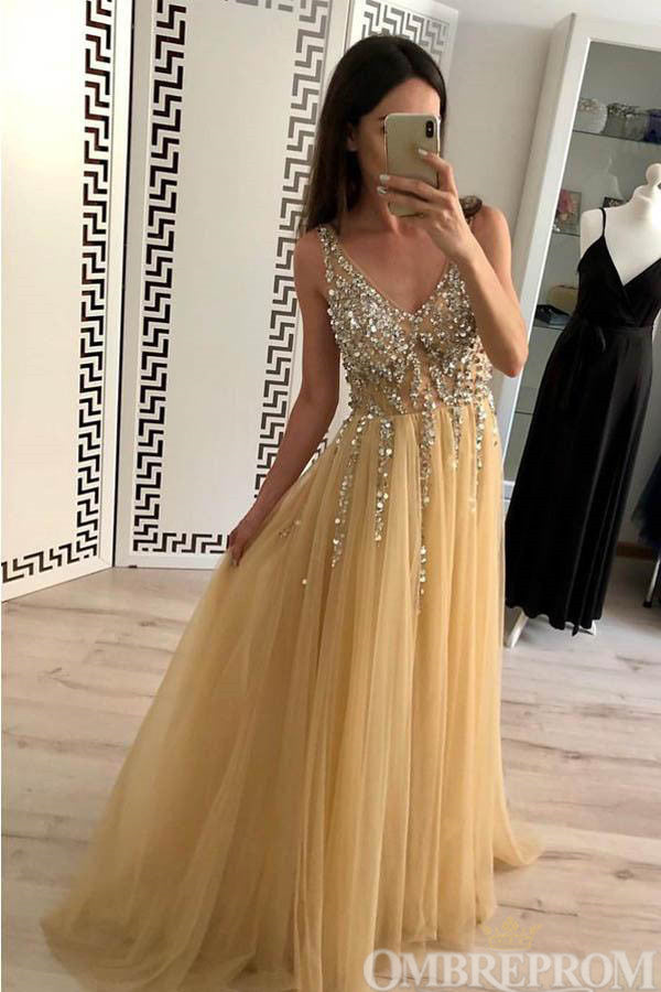 Chic V Neck Sleeveless Tulle A Line Prom Dress with Beading D124