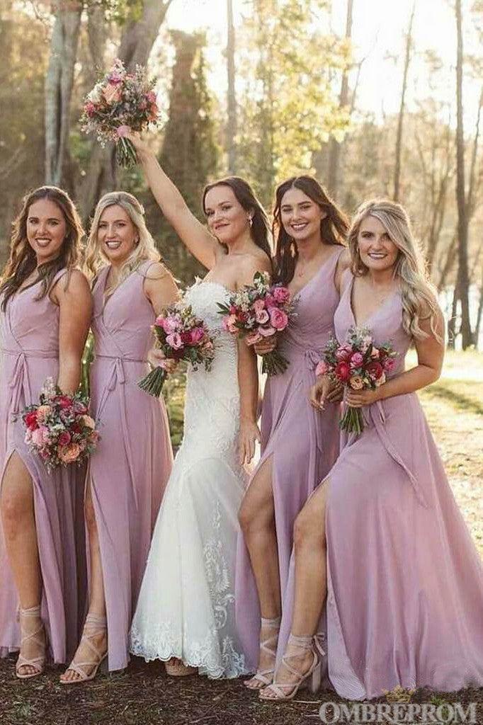Chic V Neck Sleeveless Tulle Long Bridesmaid Dress with Split Side B475
