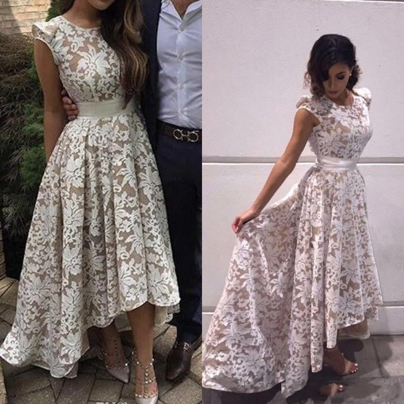 Cute Round Neck High Low Appliques Lace Prom Dress D355