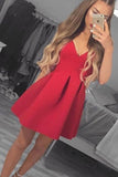 Elegant Red V Neck Satin A Line Knee Length Homecoming Dress M628