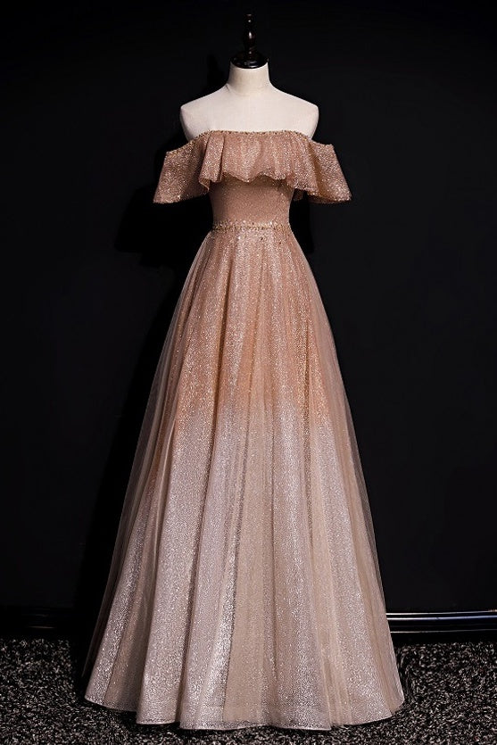 A-line Ombre Prom Dresses Off Shoulder Long Formal Gown D412