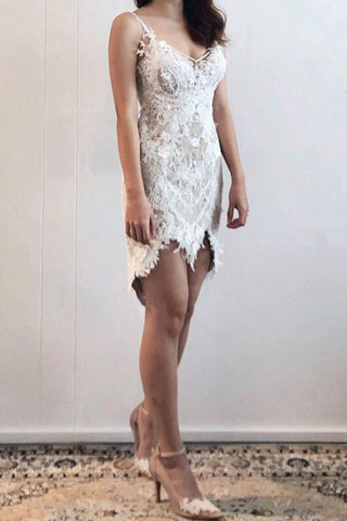 Charming Lace Straps Short Front Long Back Prom Dress Party Dress P684 - Ombreprom