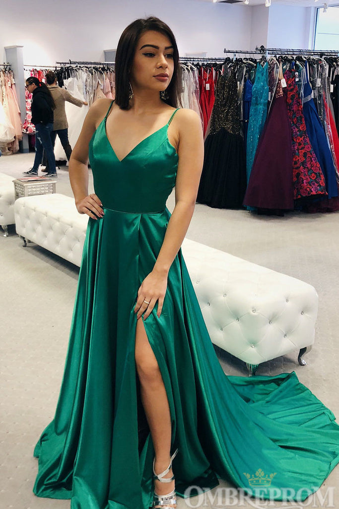 Dark Green Satin V Neck Spaghetti Straps Prom Dress with Appliques D182