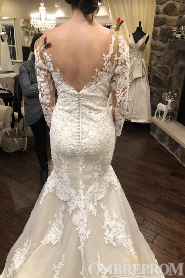 Delicate Long Sleeves Mermaid Lace Wedding Dress W750