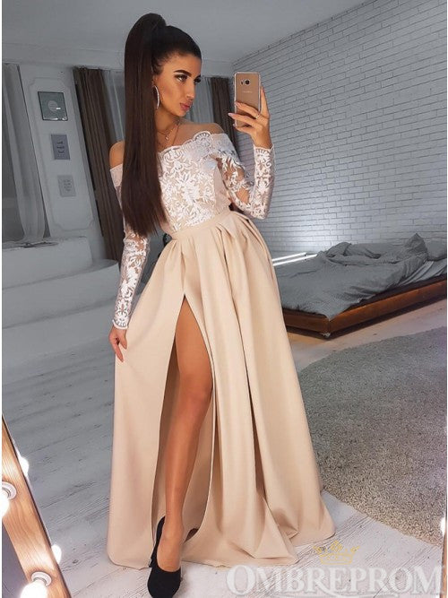 Delicate Off Shoulder Long Sleeves Prom Dress with Split Side D314