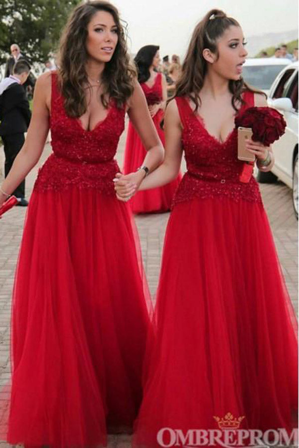 Delicate Red V Neck A Line Tulle Sleeveless Lace Bridesmaid Dress B494