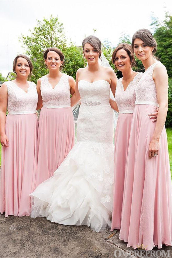 Delicate Sleeveless Floor Length Lace Bridesmaid Dress B480