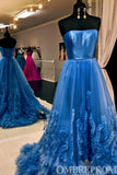 Delicate Strapless Blue Prom Dress Low Back A Line Party Gown D254