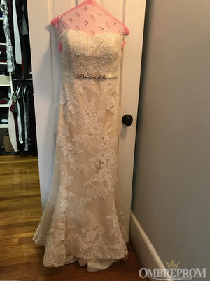 Delicate Strapless Mermaid Lace Wedding Dresses with Appliques W633