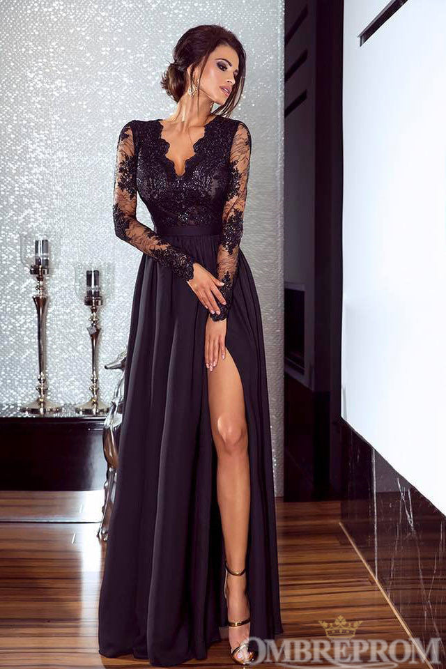 Delicate V Neck Long Sleeves Lace Top Long Prom Dress D96