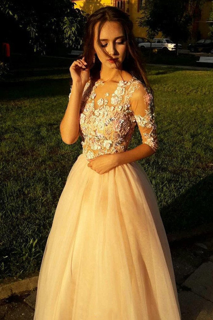 Elegant A Line Half Sleeves Lace Prom Dresses with Flower Appliques D71