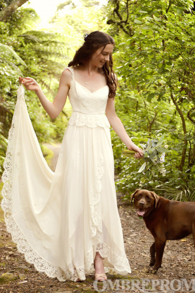 Elegant Cap Sleeves A Line Lace V Neck Wedding Dress W700
