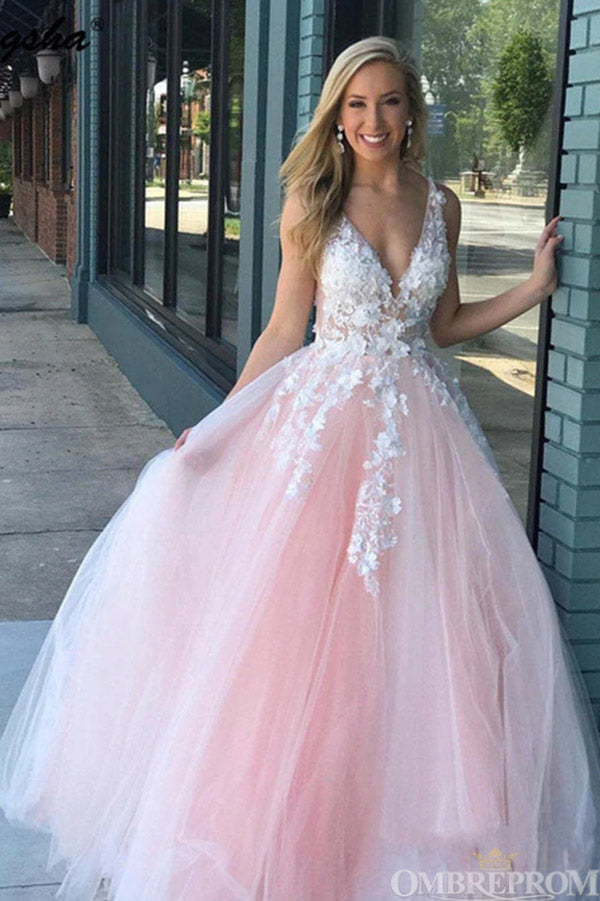 Elegant Deep V Neck Ball Gown Sleeveless Prom Dress with Appliques D141