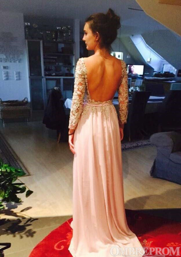 Elegant Long Sleeves Backless Chiffon Party Dress A Line Prom Dress D26