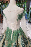 Elegant Long Sleeves Lace Up Back Sequins Sweep Train Prom Dress D322