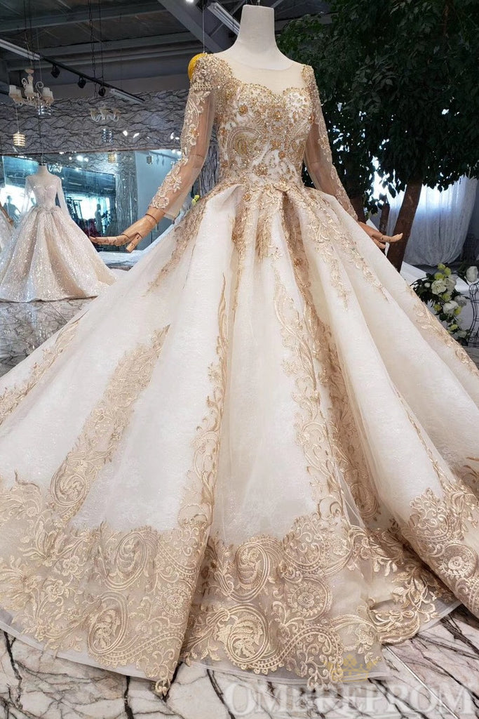 Elegant Long Sleeves Lace Up Prom Dress with Appliques Ball Gown D218