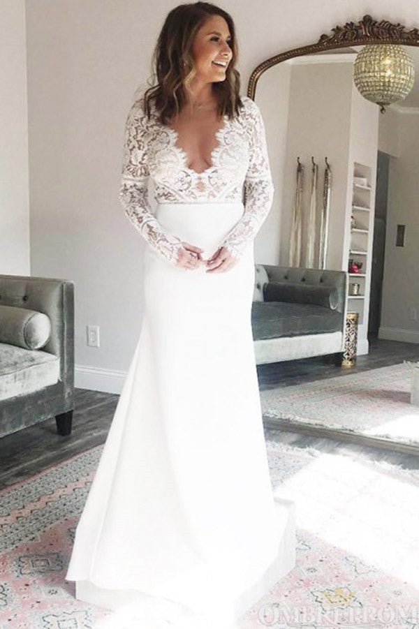 Elegant Long Sleeves V Neck Floor Length Lace Top Wedding Dress W665