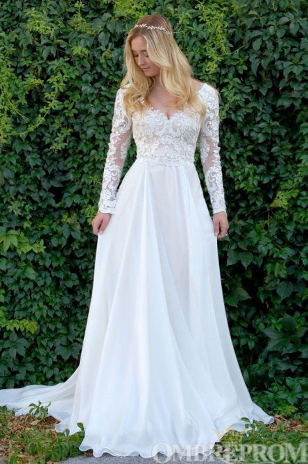 Elegant Long Sleeves V Neck Top Lace Wedding Dress W716