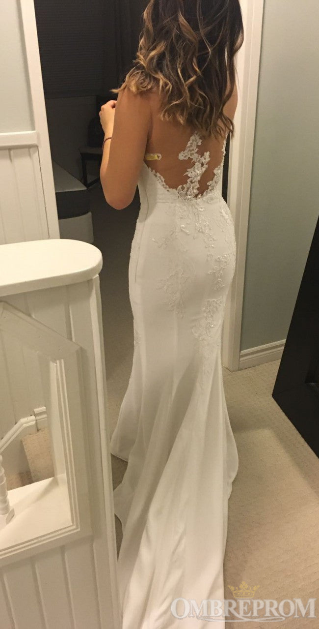 Elegant Mermaid Wedding Dress Sleeveless Sweep Train Bridal Gown W688