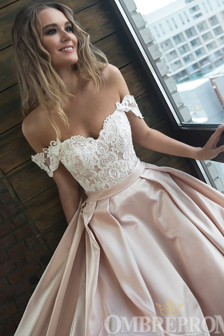 Elegant Off Shoulder A Line Top Lace Wedding Dress W756