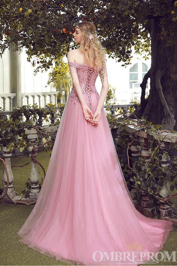 Elegant Off Shoulder Lace Up Prom Dress with Appliques D339