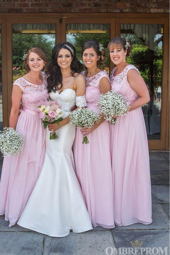 Elegant Pink Lace Top Round Neck Chiffon Bridesmaid Dress B478